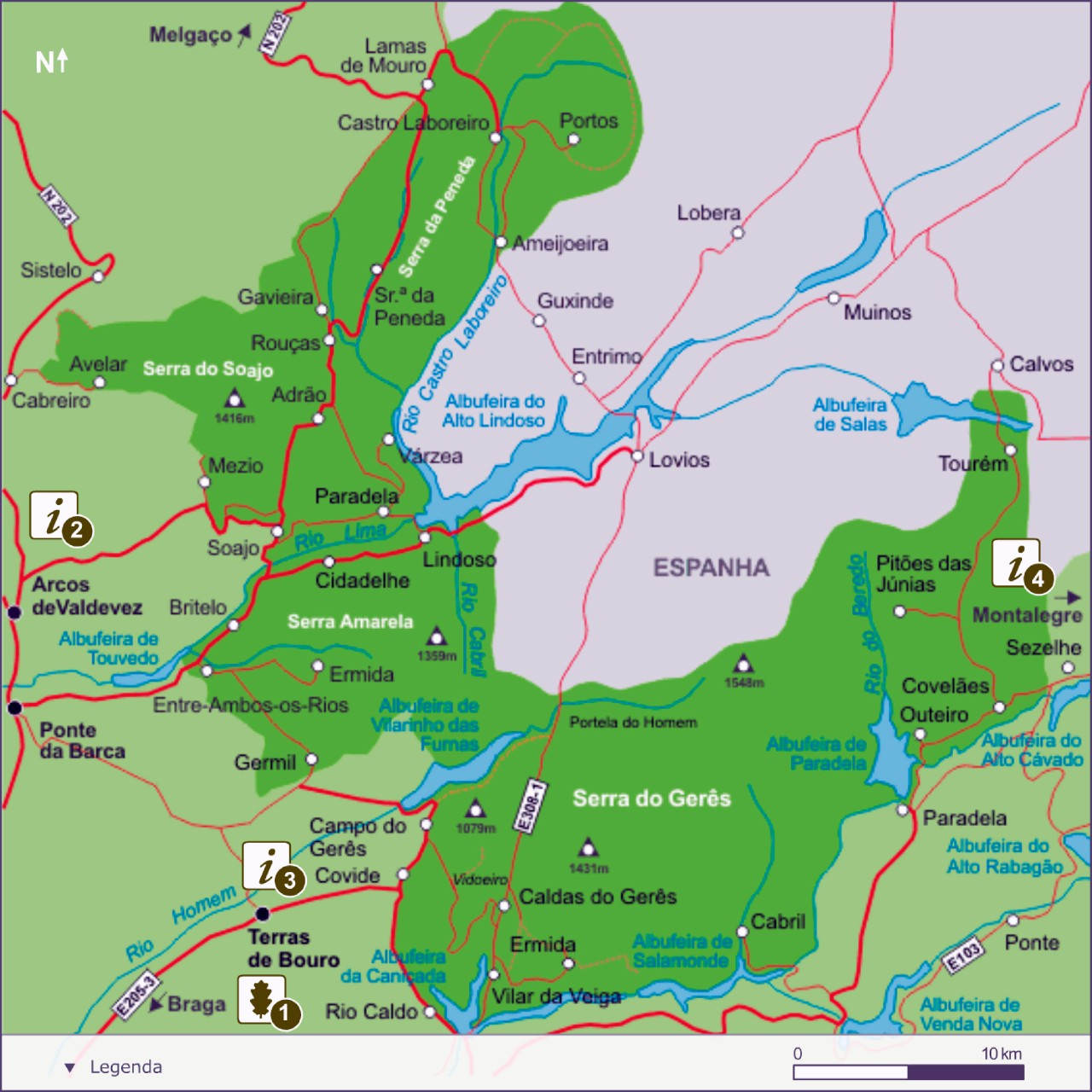 map Peneda Geres National Park, Portugal